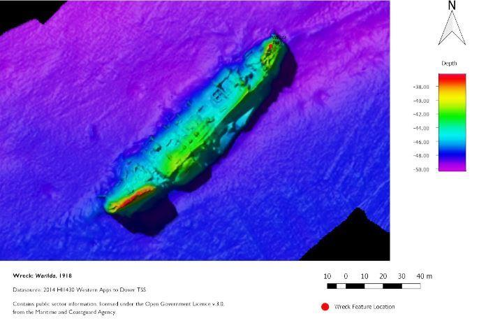 Bathymetric image of HMHS Warilda, a hospital ship that was torpedoed in August 1918. 223 were lost including 101 patients.